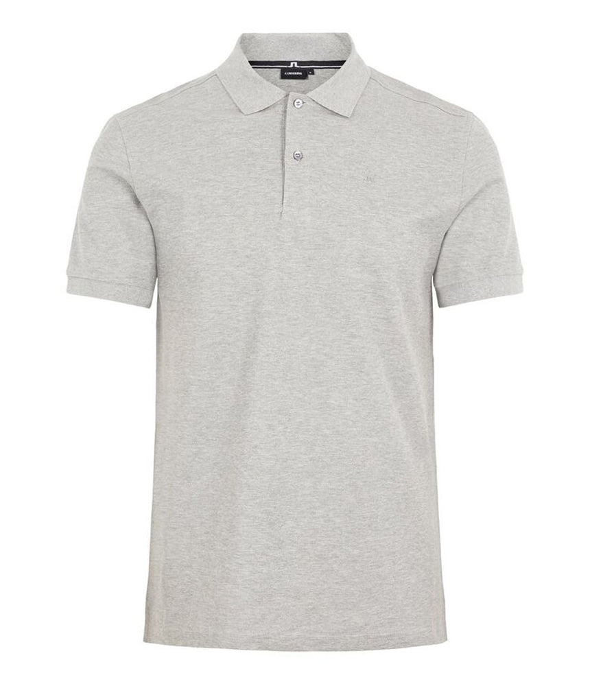 J.Lindeberg Troy Clean Pique Polo Shirt in Light Grey Melange