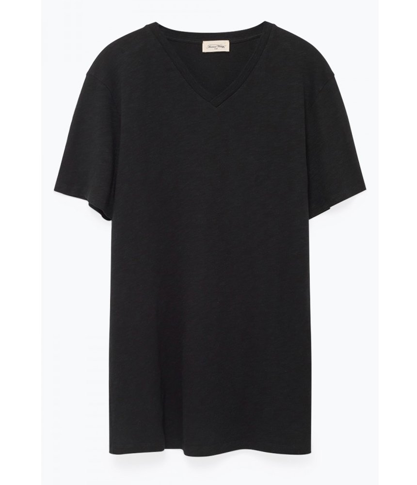 American Vintage Classic V Neck Tee in Black - Man - bloke-white-denim