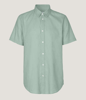 Samsoe Samsoe Vento Short Sleeve Linen Shirt in Blue Surf - Man - bloke-white-denim
