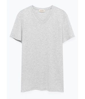 American Vintage V Neck Tee in Grey Marl - Man - bloke-white-denim
