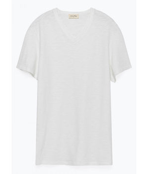 American Vintage Classic V Neck Tee In White - Man - bloke-white-denim