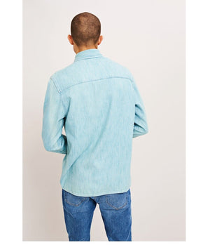 Samsoe and Samsoe Waltones Overshirt in Light Blue - Sale - bloke-white-denim
