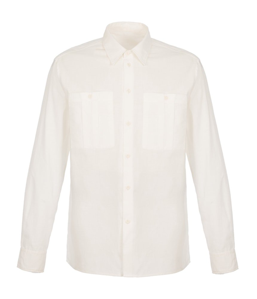 King & Tuckfield Double Pocket Shirt In White - Man - bloke-white-denim