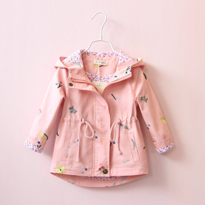 Girls Flower Embroidered Hooded Jacket - Kids Bayou