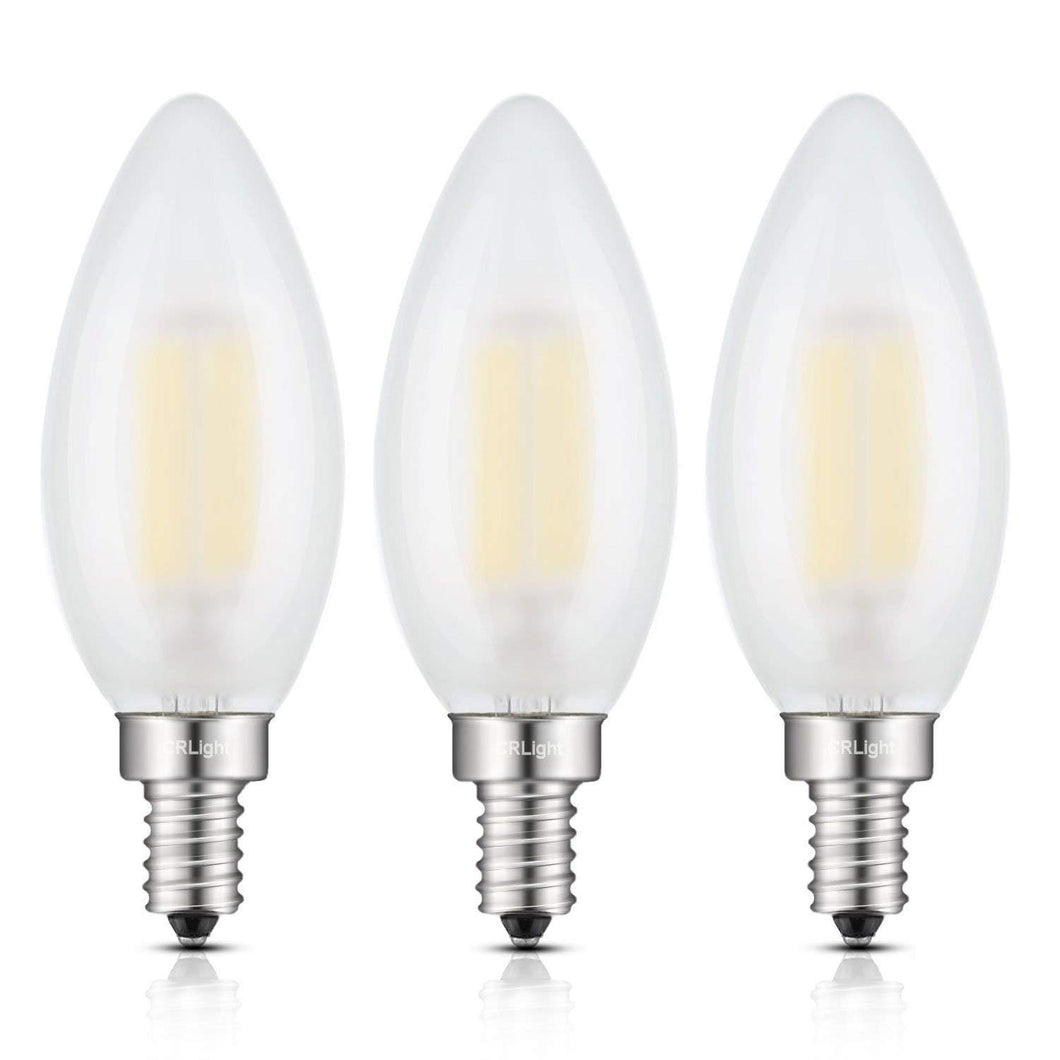 CRLight 6W 600LM Dimmable LED Filament Retro Candelabra Bulbs 4000K Neutral White, E12 Base, 60W Incandescent Equivalent, Frosted Glass Bullet Top, 3 Pack