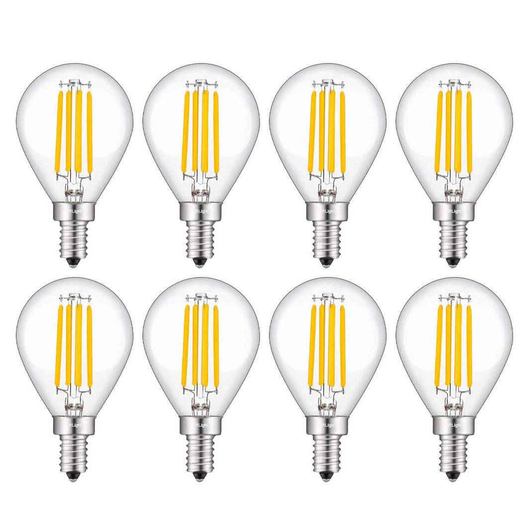 CRLight 4W 450LM Dimmable LED Filament Candelabra Bulbs 3000K Soft White, E12 Base, 45W Incandescent Equivalent, G14 Clear Glass Globe Shape, 8 Pack