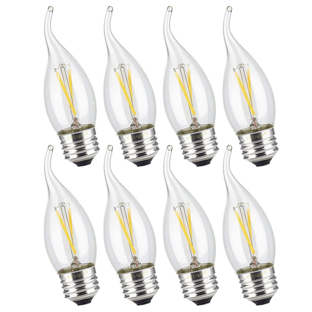 CRLight 2W 300LM Dimmable LED Filament Retro Chandelier Bulbs 3200K Soft White, E26 Base, 30W Incandescent Equivalent, Clear Glass Flame Shape, 8 Pack