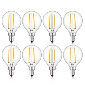 CRLight 2W 300LM Dimmable LED Filament Candelabra Bulbs 3000K Soft White, E12 Base, 30W Incandescent Equivalent, G50 Clear Glass Globe Shape, 8 Pack