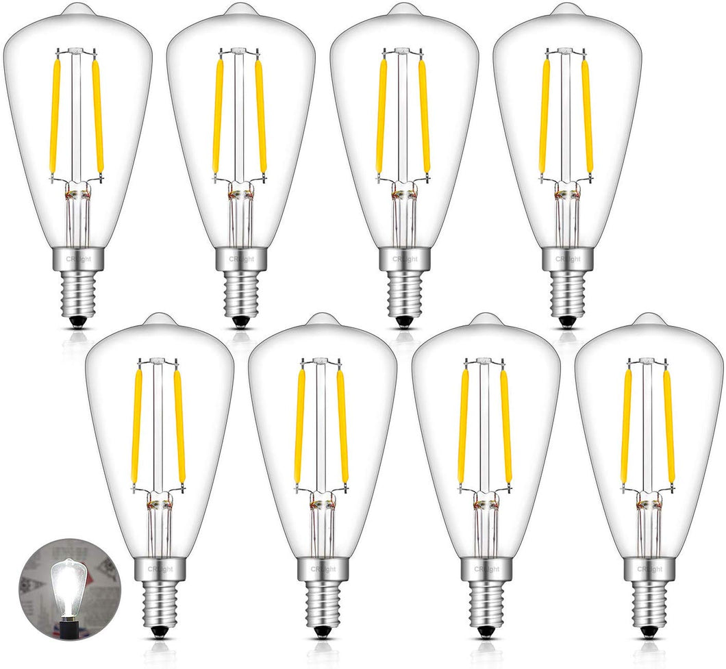 CRLight 2W 300LM Dimmable LED Filament Retro Candelabra Bulbs 5000K Daylight White, E12 Base, 30W Incandescent Equivalent, ST48 Edison Style, 8 Pack