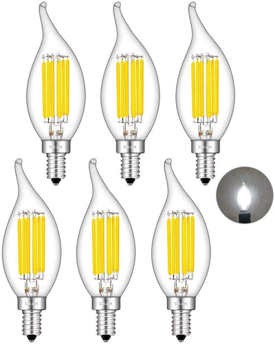 CRLight 6W 700LM Dimmable LED Filament Retro Candelabra Bulbs 4000K Daylight (Neutral White), E12 Base, 70W Incandescent Equivalent, Clear Glass Flame Shape, 6 Pack