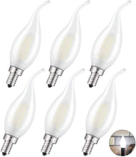 Load image into Gallery viewer, CRLight 4W 400LM Dimmable LED Filament Retro Candelabra Bulbs 4000K Daylight (Neutral White), E12 Base, 40W Incandescent Equivalent, Frosted Glass Flame Shape, 6 Pack
