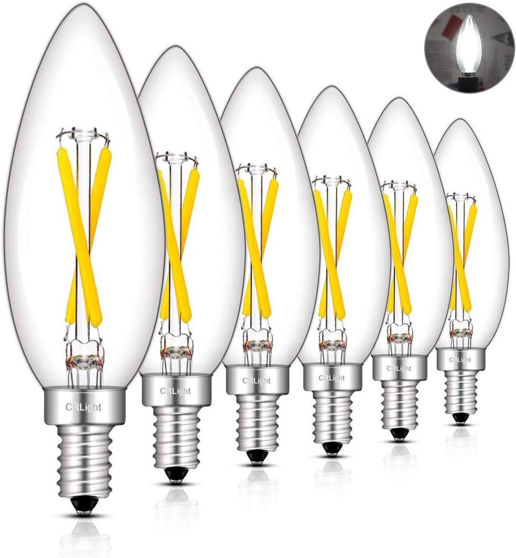 CRLight 2W 300LM Dimmable LED Filament Retro Candelabra Bulbs 4000K Neutral White, E12 Base, 30W Incandescent Equivalent, Clear Glass Bullet Top, 6 Pack