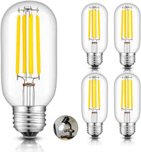 Load image into Gallery viewer, CRLight 5W 4000K Dimmable LED Tubular Bulb Daylight (Neutral White) 550LM, 55W Incandescent Equivalent E26 Base T45 Antique Filament Bulbs, 4 Pack