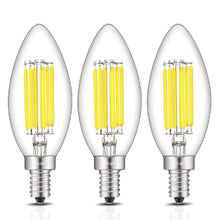 Load image into Gallery viewer, CRLight 6W 700LM Dimmable LED Filament Retro Candelabra Bulbs 6000K Daylight (Cold White), E12 Base, 70W Incandescent Equivalent, Clear Glass Bullet Top, 3 Pack