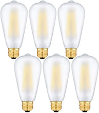 Load image into Gallery viewer, CRLight 8W 3000K Dimmable LED Edison Bulb Soft White 800LM, 80W Incandescent Equivalent E26 Base ST64 Vintage Filament Bulbs, 6 Pack