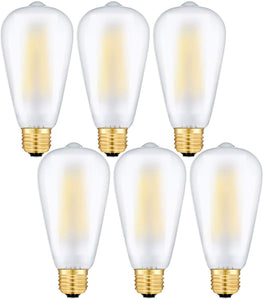 CRLight 8W 3000K Dimmable LED Edison Bulb Soft White 800LM, 80W Incandescent Equivalent E26 Base ST64 Vintage Filament Bulbs, 6 Pack