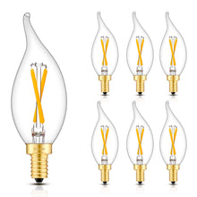Load image into Gallery viewer, CRLight 2W 200LM Dimmable LED Filament Retro Candelabra Bulbs 2500K Warm White, E12 Base, 20W Incandescent Equivalent, Clear Glass Flame Shape, 6 Pack