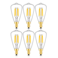 Load image into Gallery viewer, CRLight 4W 400LM Dimmable LED Filament Retro Candelabra Bulbs 2700K Warm White, E12 Base, 40W Incandescent Equivalent, ST48 Edison Style, 6 Pack