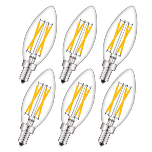 CRLight 4W 500LM Dimmable LED Filament Retro Candelabra Bulbs 2700K Warm White, E12 Base, 40W Incandescent Equivalent, Clear Glass Bullet Top, 6 Pack