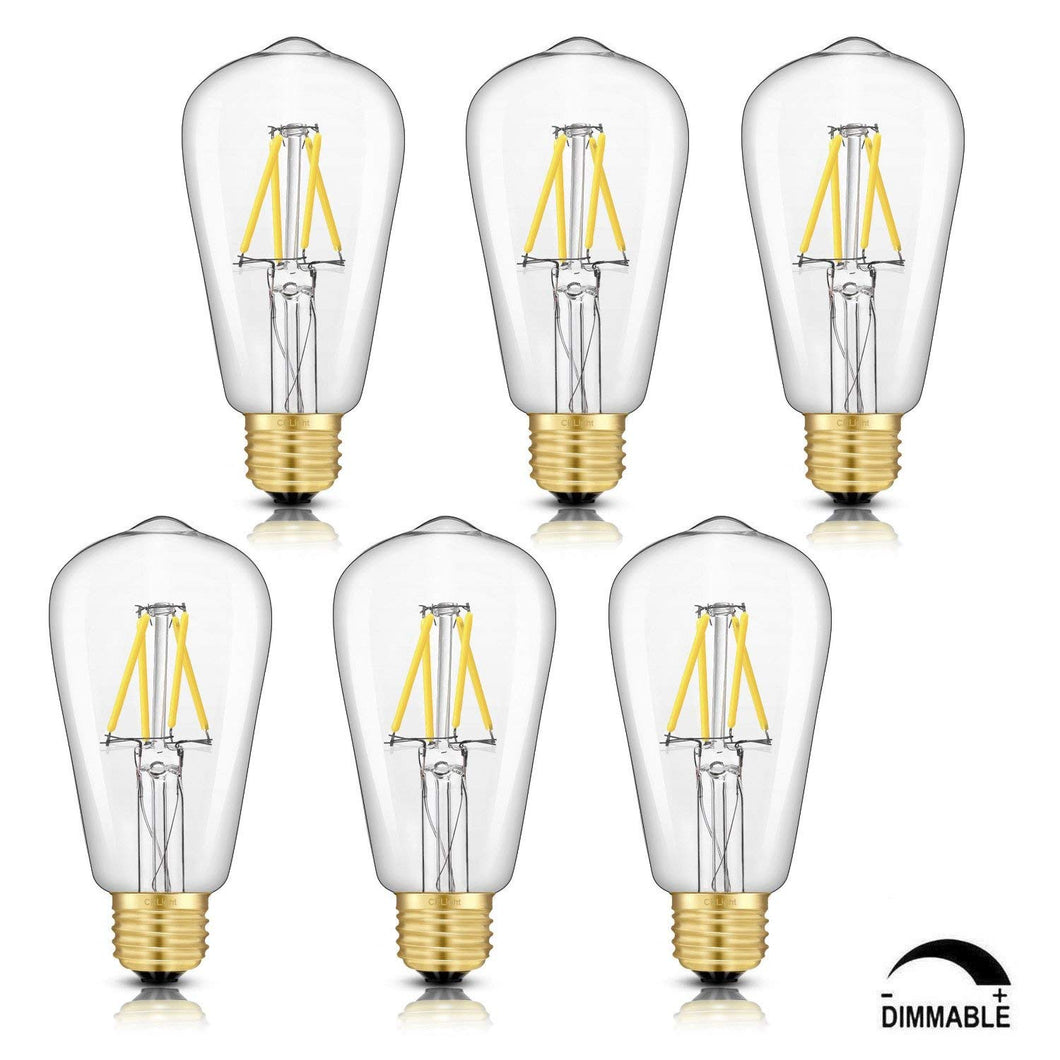 CRLight 4W 4000K Dimmable LED Edison Bulb Daylight (Neutral White) 500LM, 50W Incandescent Equivalent E26 Base ST58 Vintage Filament Bulbs, 6 Pack