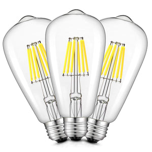 CRLight 8W 6000K Dimmable LED Edison Bulb Daylight (Cold White) 800LM, 80W Incandescent Equivalent E26 Base ST64 Vintage Filament Bulbs, 3 Pack