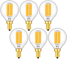 Load image into Gallery viewer, CRLight 6W 650LM Dimmable LED Filament Candelabra Bulbs 3000K Soft White, E12 Base, 65W Incandescent Equivalent, G50 Clear Glass Globe Shape, 6 Pack