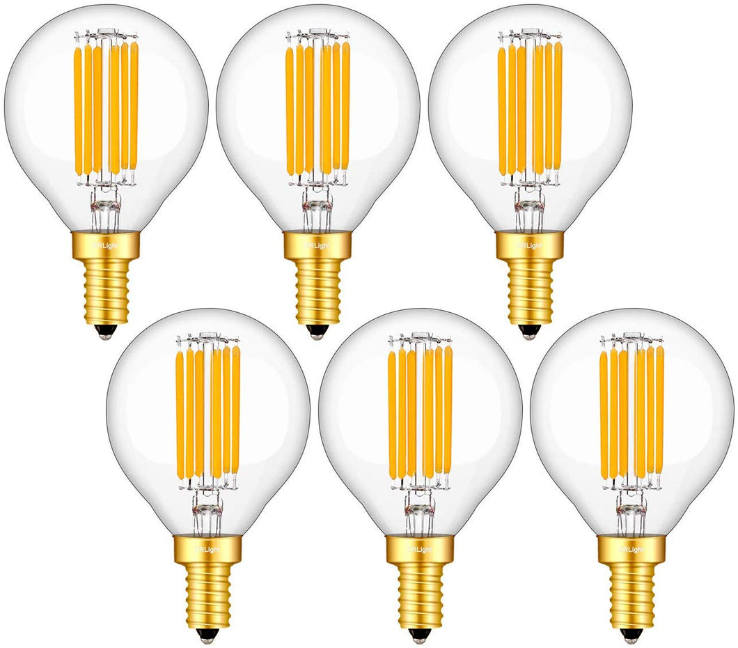 CRLight 6W 650LM Dimmable LED Filament Candelabra Bulbs 3000K Soft White, E12 Base, 65W Incandescent Equivalent, G50 Clear Glass Globe Shape, 6 Pack