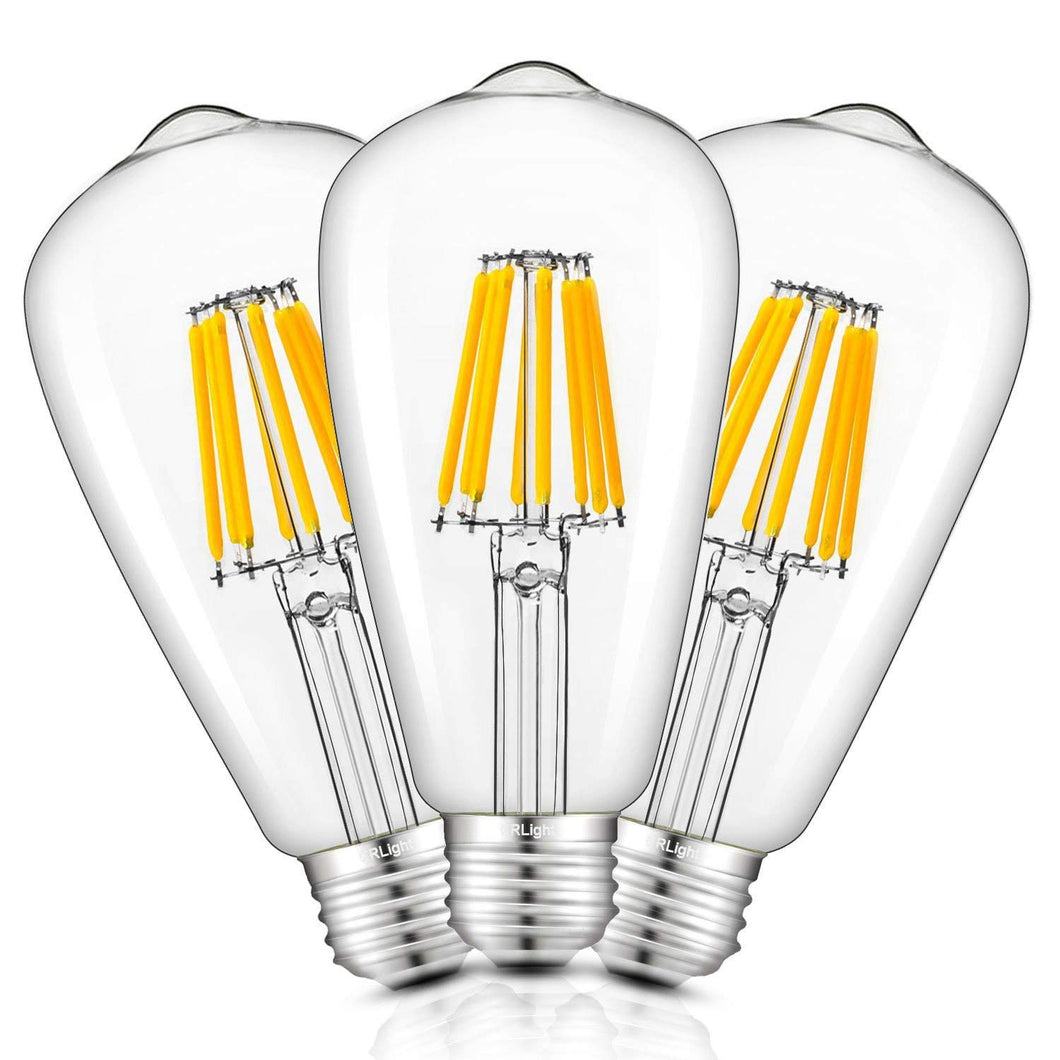CRLight 8W 2700K Dimmable LED Edison Bulb Warm White 750LM, 75W Incandescent Equivalent E26 Base ST64 Vintage Filament Bulbs, 3 Pack
