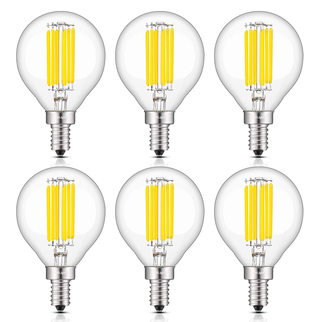 CRLight 6W 700LM Dimmable LED Filament Retro Candelabra Bulbs 4000K Neutral White, E12 Base, 70W Incandescent Equivalent, G50 Clear Glass Globe Shape, 6 Pack