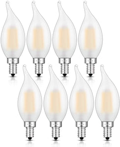 CRLight 6W 650LM Dimmable LED Filament Retro Candelabra Bulbs 3200K Soft White, E12 Base, 65W Incandescent Equivalent, Frosted Glass Flame Tip, 8 Pack
