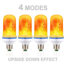 Load image into Gallery viewer, 4 Pack LED Simulated Fire Flicker Flame Effect E26 Base Light Bulb, Gravity Sensor and 4 Modes Emulation/Gravity Sensing/General/ Breathing