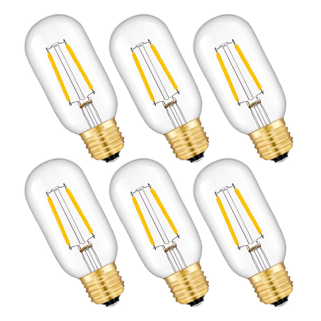 CRLight 2W 2700K Dimmable LED Tubular Bulb Warm White 250LM, 25W Incandescent Equivalent E26 Base T45 Antique Filament Bulbs, 6 Pack