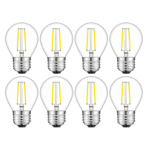 CRLight 2W 300LM Dimmable LED Filament Retro Candelabra Bulbs 4000K Neutral White, E26 Base, 30W Incandescent Equivalent, Clear Glass Globe Shape, 8 Pack