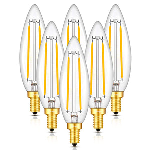 CRLight 5W 500LM Dimmable LED Filament Retro Candelabra Bulbs 3000K Soft White, E12 Base, 50W Incandescent Equivalent, Clear Glass Bullet Top, 6 Pack