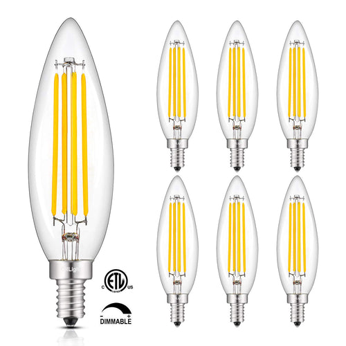 CRLight 8W 800LM Dimmable LED Filament Retro Candelabra Bulbs 2700K Warm White, E12 Base, 80W Incandescent Equivalent, Clear Glass Bullet Top, 6 Pack
