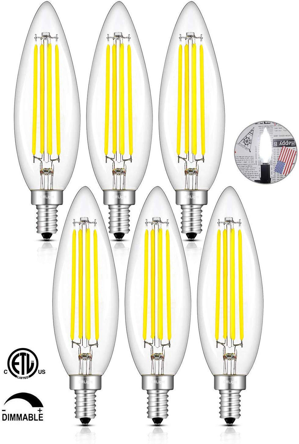 CRLight 8W 800LM Dimmable LED Filament Retro Candelabra Bulbs 5000K Daylight White, E12 Base, 80W Incandescent Equivalent, Clear Glass Torpedo Shape, 6 Pack