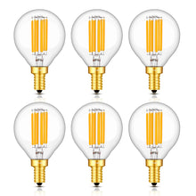 Load image into Gallery viewer, CRLight 6W 700LM Dimmable LED Filament Candelabra Bulbs 2700K Warm White, E12 Base, 70W Incandescent Equivalent, G50 Clear Glass Globe Shape, 6 Pack