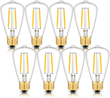 Load image into Gallery viewer, CRLight 2W 300LM Dimmable LED Filament Retro Candelabra Bulbs 3000K Soft White, E26 Base, 30W Incandescent Equivalent, ST48 Edison Style, 8 Pack