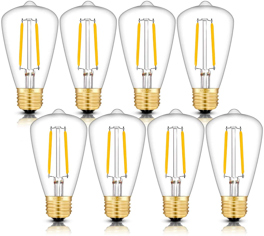 CRLight 2W 300LM Dimmable LED Filament Retro Candelabra Bulbs 3000K Soft White, E26 Base, 30W Incandescent Equivalent, ST48 Edison Style, 8 Pack