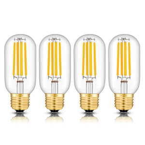 CRLight 5W 3000K Dimmable LED Tubular Bulb Soft White 550LM, 55W Incandescent Equivalent E26 Base T45 Antique Filament Bulbs, 4 Pack