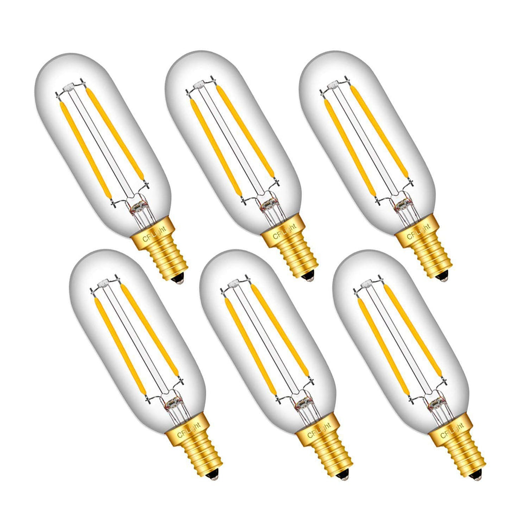 CRLight 2W 250LM Dimmable LED Filament Retro Candelabra Bulbs 2700K Warm White, E12 Base, 25W Incandescent Equivalent, T25 Tubular Bulbs, 6 Pack