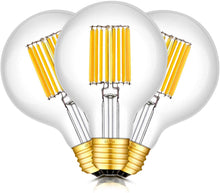 Load image into Gallery viewer, CRLight 12W 3000K Dimmable LED Globe Bulb Soft White 1200LM, 120W Incandescent Equivalent E26 Base G80 Vintage Filament Bulbs, 3 Pack