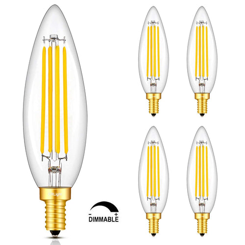 CRLight 8W 800LM Dimmable LED Filament Retro Candelabra Bulbs 3000K Soft White, E12 Base, 80W Incandescent Equivalent, Clear Glass Torpedo Shape, 4 Pack