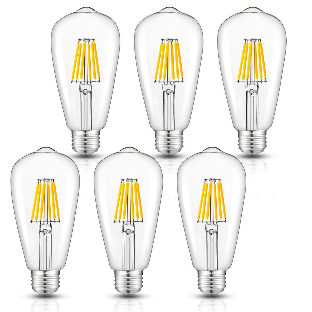 CRLight 6W 3000K Dimmable LED Edison Bulb Soft White 600LM, 60W Incandescent Equivalent E26 Base ST64 Vintage Filament Bulbs, 6 Pack