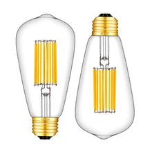 Load image into Gallery viewer, CRLight 14W 3000K LED Edison Bulb Soft White 1200LM, 120W Incandescent Equivalent E26 Base ST64 Vintage Filament Bulbs, 2 Pack