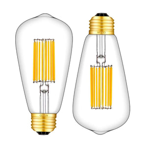 CRLight 14W 3000K LED Edison Bulb Soft White 1200LM, 120W Incandescent Equivalent E26 Base ST64 Vintage Filament Bulbs, 2 Pack