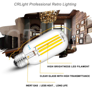 CRLight 5W 4000K Dimmable LED Tubular Bulb Daylight (Neutral White) 550LM, 55W Incandescent Equivalent E26 Base T45 Antique Filament Bulbs, 4 Pack