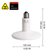 Load image into Gallery viewer, CRLight 250W Ceramic Heat Infrared Emitter Lamp for Reptile Amphibian Pet Heater Lizard Brooder Bulb, White Round Shape