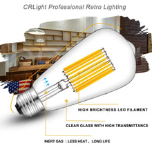 Load image into Gallery viewer, CRLight 15W 3000K Dimmable LED Edison Bulb Soft White 1350LM, 135W Incandescent Equivalent E26 Base ST64 Vintage Filament Bulbs, 2 Pack