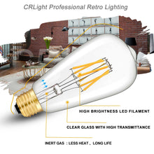 Load image into Gallery viewer, CRLight 6W 2700K Dimmable LED Edison Bulb Warm White 700LM, 60W Incandescent Equivalent E26 Base ST64 Vintage Filament Bulbs, 6 Pack
